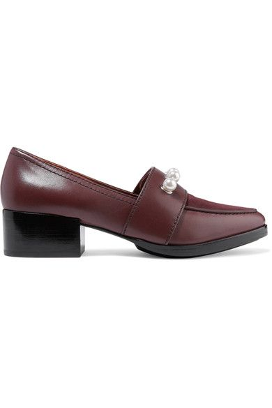 3.1 Phillip Lim - Quinn Embellished Leather And Suede Loafers - Burgundy