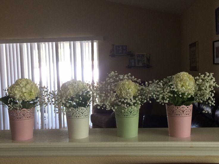 Gaby's First Communion vintage flower center pieces