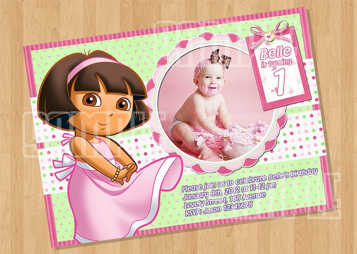 Dora Pink Style Party Invitation with your Babies photo $8.00