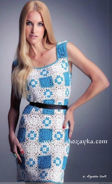 Платье из квадратных мотивов крючком. Мотив для платья крючком | Я Хозяйка