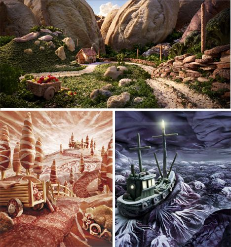 Deep purple cabbage leaves stand in for a moonlit sea, while salmon slices resemble a lake glittering in the midday sun. Herb grass, broccoli trees, baguette mountains, potato rocks and red onion hot air balloons create surreal landscapes in the foodscapes of artist Carl Warner. Warner sketches out the scenes first and then uses pins and super glue to hold together his creations, which take a few days each to complete. So cool we can hardly stand it. #foodart