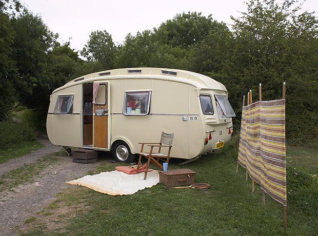 """Cheltenham Springbok    Lydia, the owner of this rare Cheltenham caravan, explains, """"We were looking for the perfect retreat, and at first we purchased a beach hut. Although it was lovely, it wasn't mobile, so we tried narrowboating. That was too restrictive so we bought a Cheltenham Fawn. We were hooked."""""""