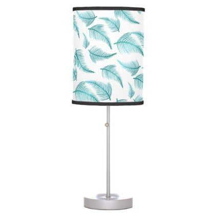 Tropical Teal Watercolor Palm Frond Leaf Pattern Desk Lamp - pattern sample design template diy cyo customize
