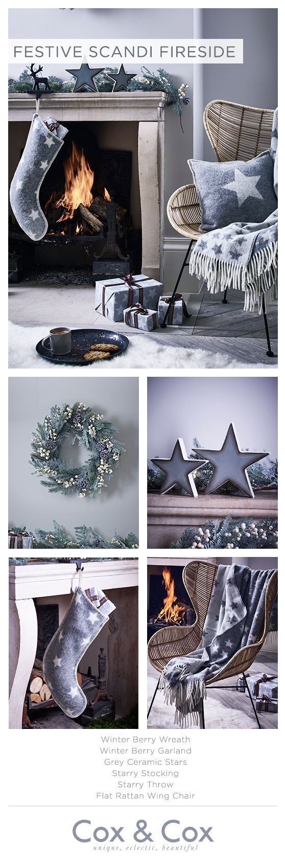 Create a festive look without compromising on personal style, with starry soft furnishings in muted Scandi Grey - and don't forget to hang your stocking...