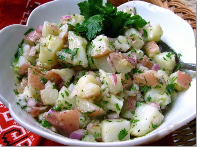 This is the potato salad I ate growing up.  No mayonnaise here, just oil and vinegar, Italian-style potato salad. Don't get me wrong. I l...