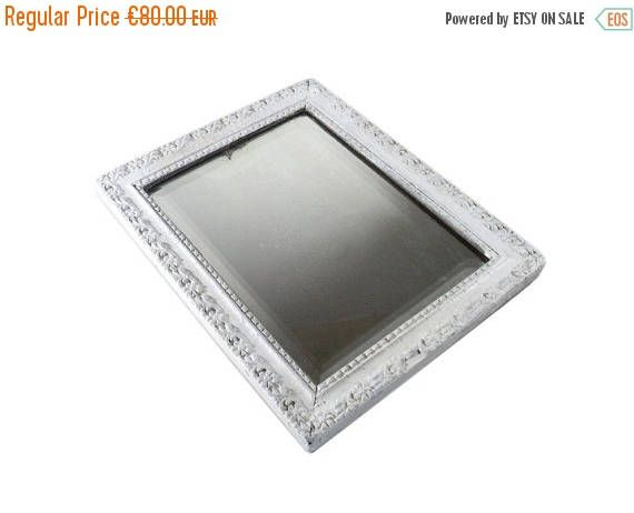 ON SALE Rectangular White Gray Mirror, Art Nouveau Distressed Mirror, French Grey Wall Hanging Mirror, Square Frieze Wall Mirror, Beveled Gl