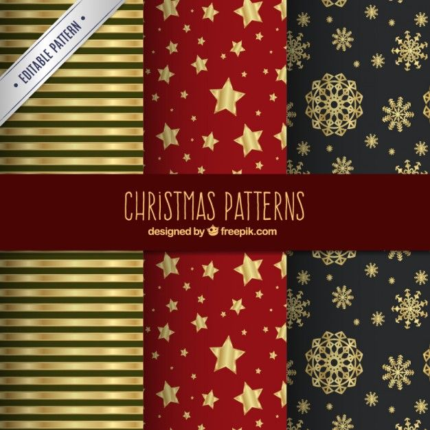 Free vector Golden christmas patterns #33868