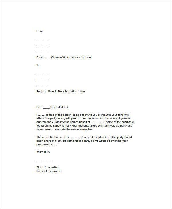 example of dinner invitation letter
