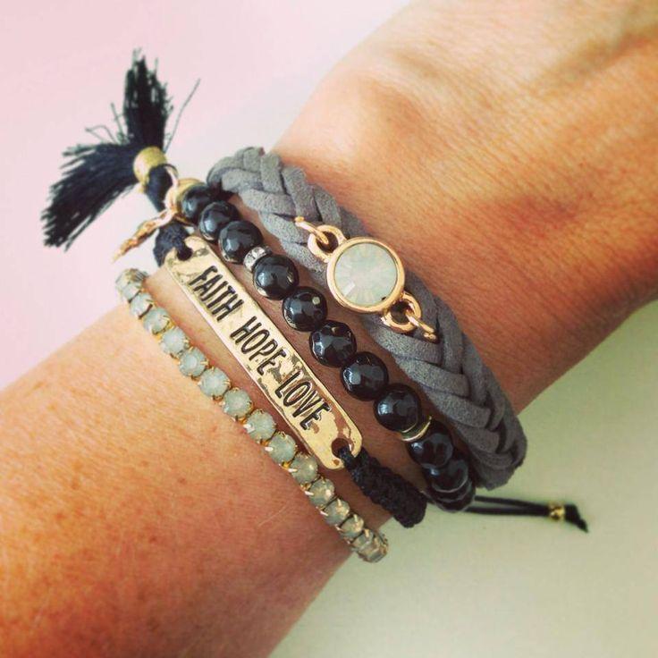 Armbandjes zwart/grijs #ohsohip