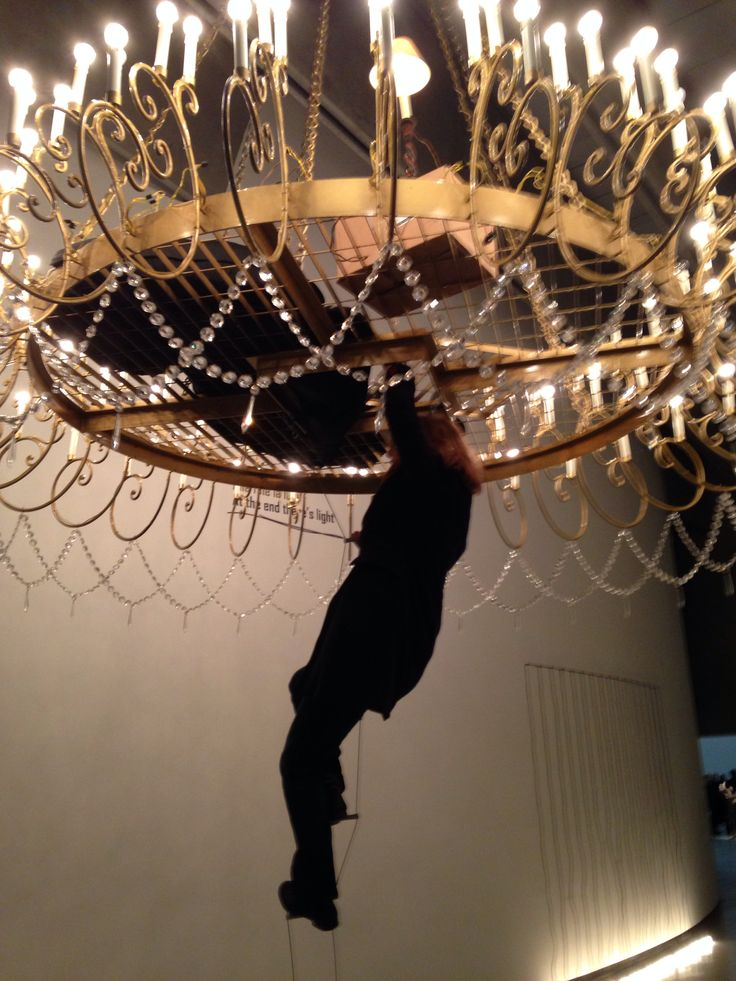 Someone is climbing the chandelier at maxxi museum in rome