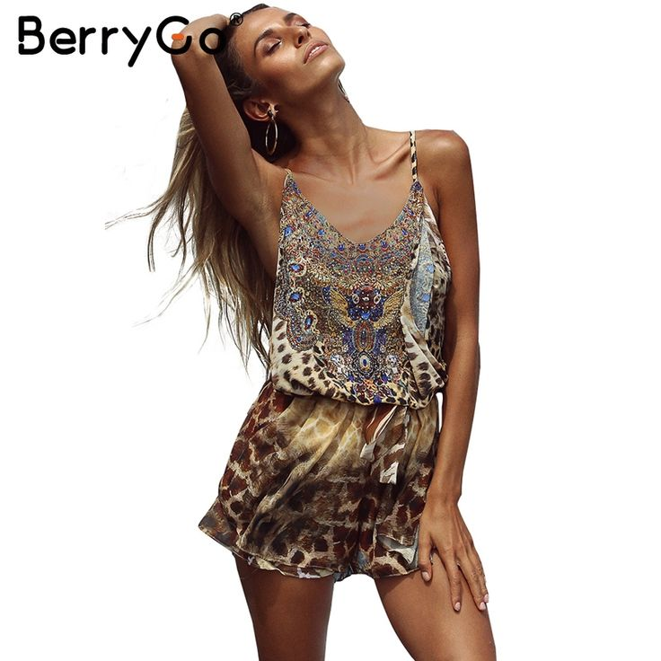 BerryGo Leopard print brown jumpsuits romper Women backless strap chiffon playsuit Summer beach sexy sleeveless overalls 2017