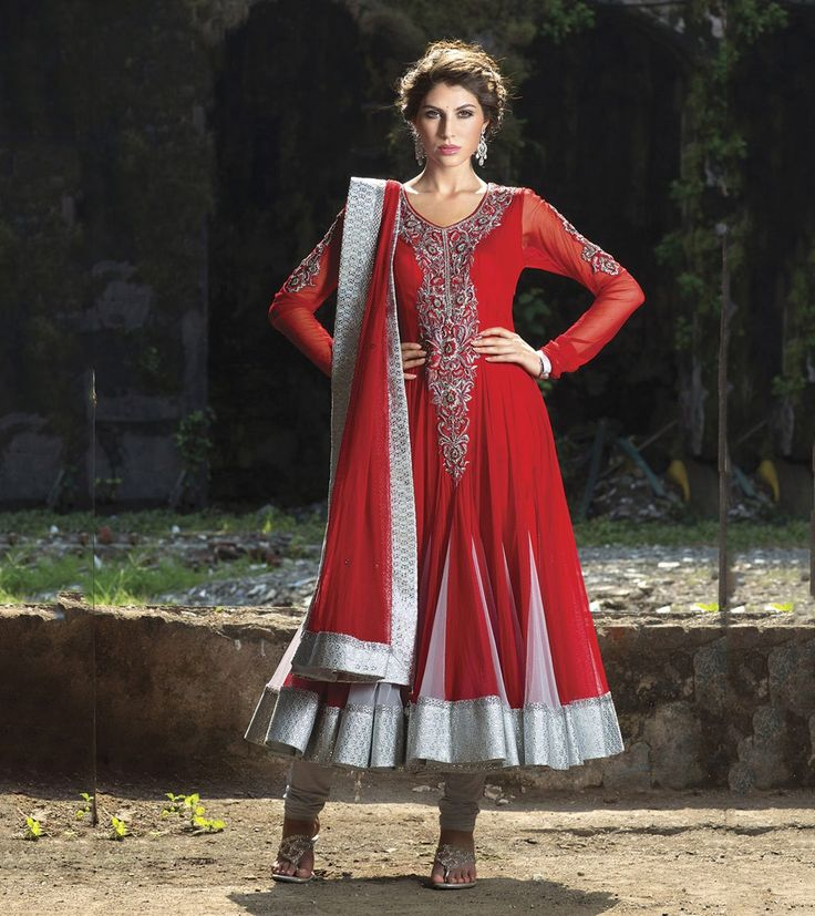 Net Patch Work Red Semi Stitched Long Anarkali Suit - 95