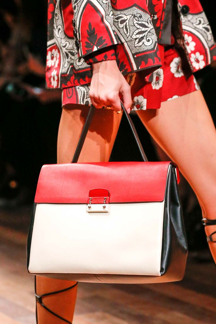 Valentino Large Colorblock White and Red Tote Bag - Spring 2015