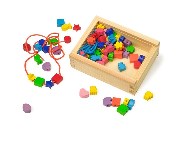 A lovely wooden box with bright shapes and coloured lace. The quality wooden shapes are perfect for little hands to hold and thread. Great for encouraging basic numeracy and promoting hand-eye coordination.