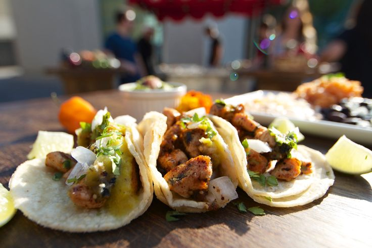 Jamaican-style Chicken Tacos by Rasta Taco Catering. Get a FREE catering quote:  #tacos #chicken #catering #Jamaican #RastaTaco #tacocatering #pollo #sharefood