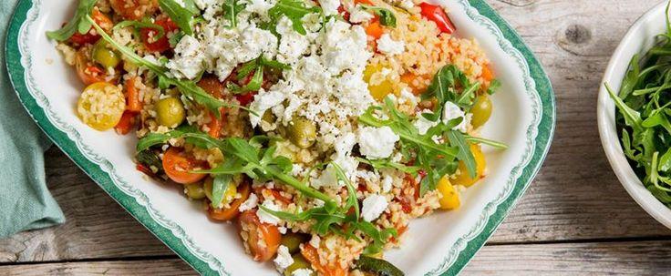 Bulgursallad med fetaost, tomat, oliver & grillade grönsaker - City Gross