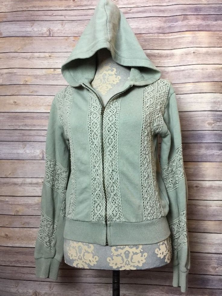Anthropologie Lux Green Crochet Long Sleeve Zip Up Hoodie Jacket Boho Cute SZ M | eBay
