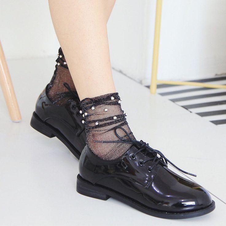 Fashion Women Breathable Fishnet Socks Net Yarn Socks Ultra Thin Pearlescent Mesh Heap Socks