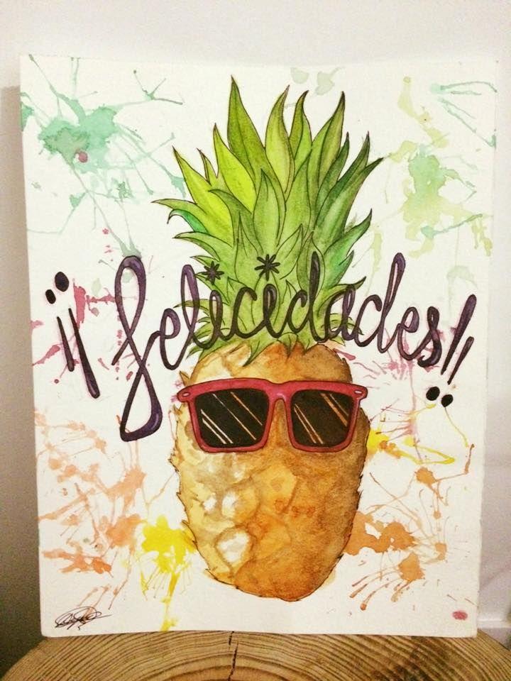 Pineapple Illustration. Watercolor. Happy Birthday ...