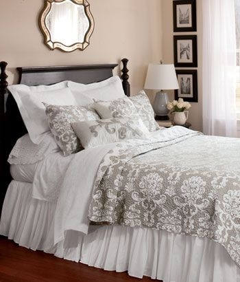 Blue Manor Quilt Country Curtains Home Decor Pinterest White Quilts Damask Bedding And