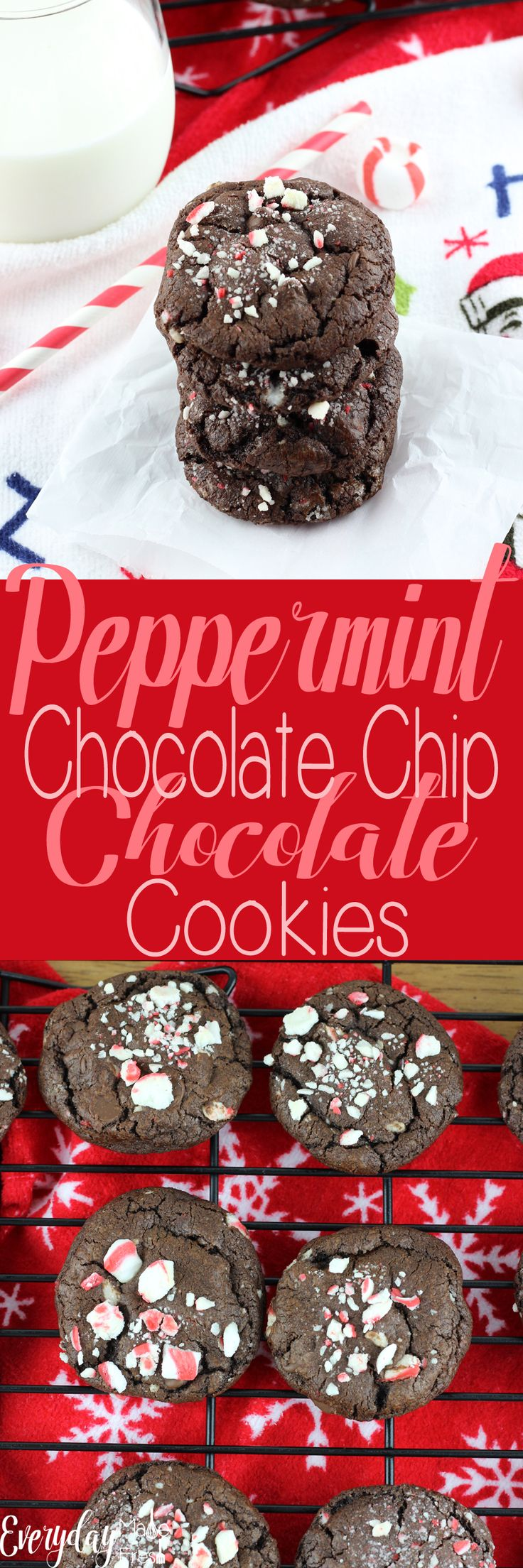 Double the chocolate in these Peppermint Chocolate Chip Chocolate Cookies. Made with soft peppermints, and chocolate on chocolate, these are for the serious mint chocolate lovers! | EverydayMadeFresh.com http://www.everydaymadefresh.com/peppermint-chocolate-chip-chocolate-cookies/