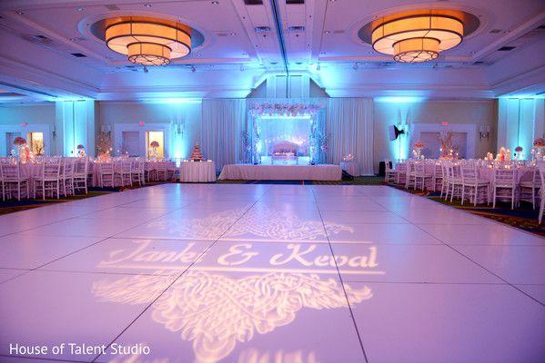 WHITE DANCE FLOOR WITH MONOGRAM...MARRIOTT EAST HANOVER NJ...LED WALL LIGHTING