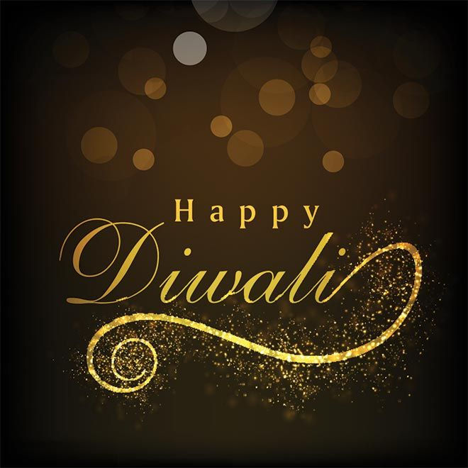 Vector Happy Diwali typography and Glitter effect on it lighting background greeting card and wallpaper design template