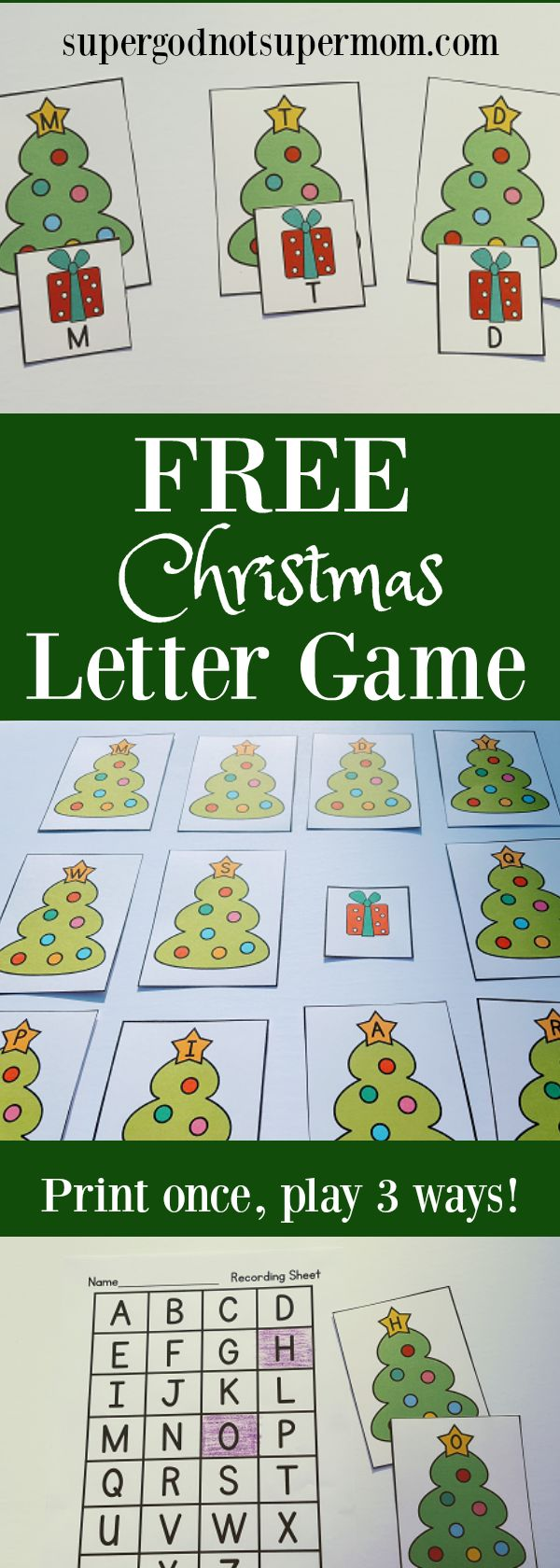 FREE Christmas Letter Game!  Print once and Play 3 different ways!  supergodnotsupermom.com