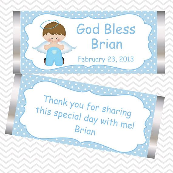 Kneeling Angel Boy  Baptism Christening First Holy Communion Candy Bar Wrappers