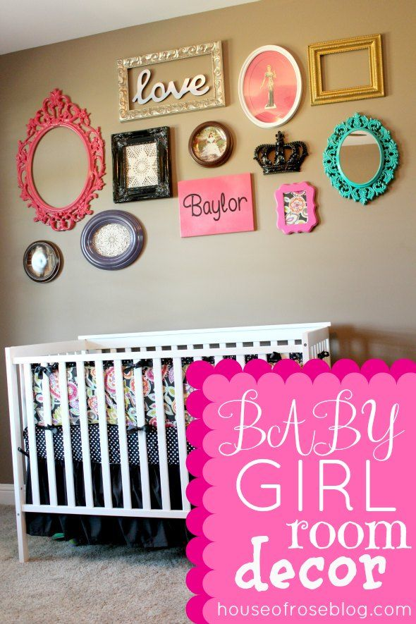 baby girl room ideas decorating--love the frame collage