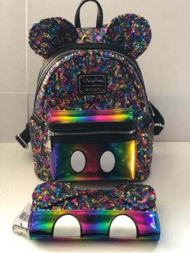 c4e27d24395 Disney-Parks-Mickey-Mouse-Rainbow-Sequin-Backpack-and-wallet-Loungefly
