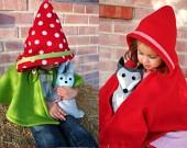 Mushroom Hooded Cape - Strawberry Hooded Cape - Woodland Gnome- Imagination Dress up- Halloween. $42.00, via Etsy.