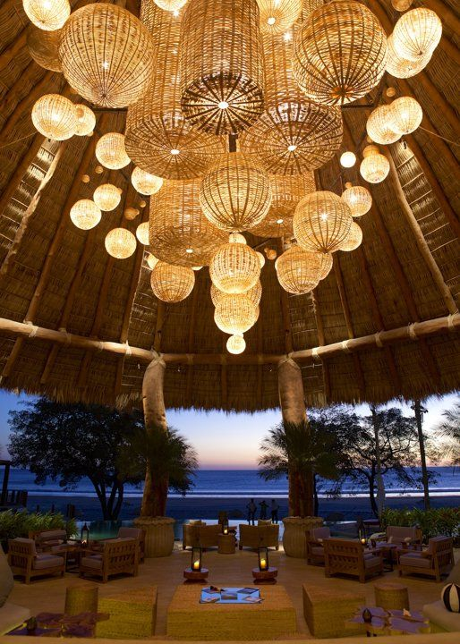 Mukul Resort & Spa Rivas, Nicaragua In addition to 37 plush suites and villas, 1,670 jungle acres and an 18-hole golf course, the new $38 million Mukul Resort & Spa in Nicaragua has a lobby worth bragging about. It's topped with an oval palapa, crafted by 15 people over the course of a month, as well as a chandelier dreamed up by interior designer Paul Duesing: The artful piece made up of 152 baskets was created by local artisans