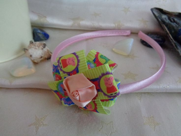 Pink satin headband with handmade Peppa Pig fabric bow. by Howittsmade on Etsy