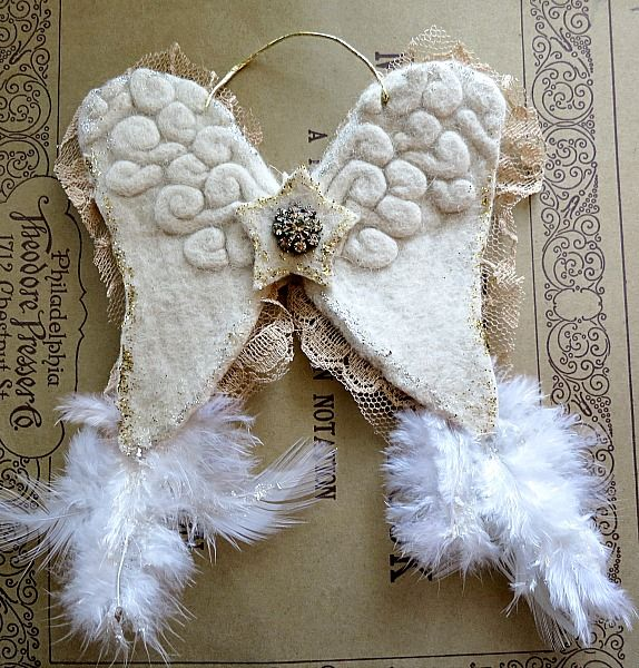 Winter White Felted Wool Wings Christmas Creations