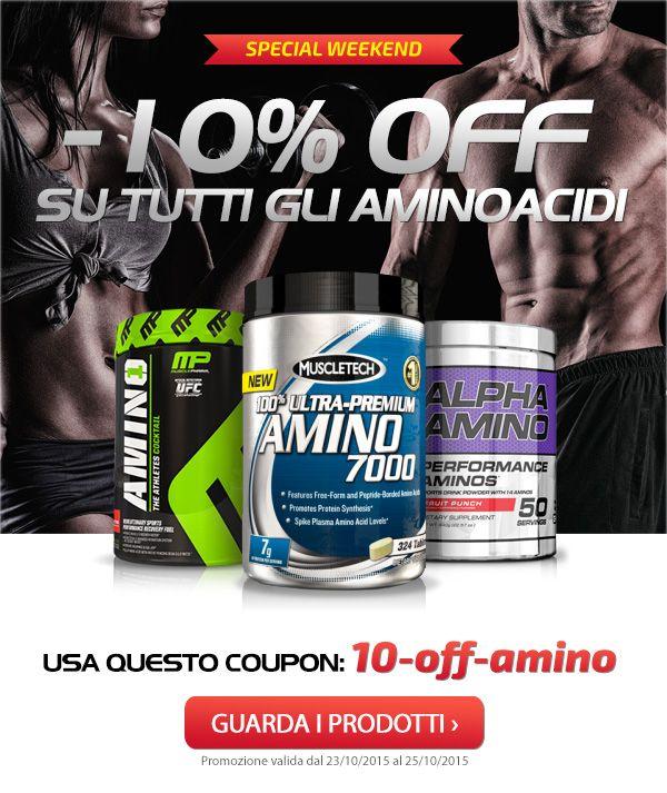 ☆ COUPON -10% su tutti gli AMINOACIDI e BCAA! ☆ Solo per questo weekend, solo su Muscle Nutrition! Info Prodotti➡http://goo.gl/gfQMPC