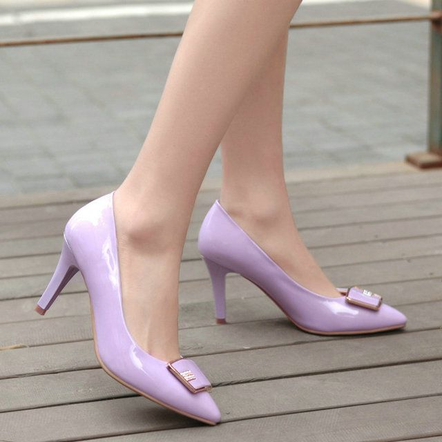 ESVEVA высокие тонкие каблуки женщин насосы sexy party поскользнуться на ОЛ шпильках острым носом пряжки лакированная кожа женщины свадебные туфли фиолетовый