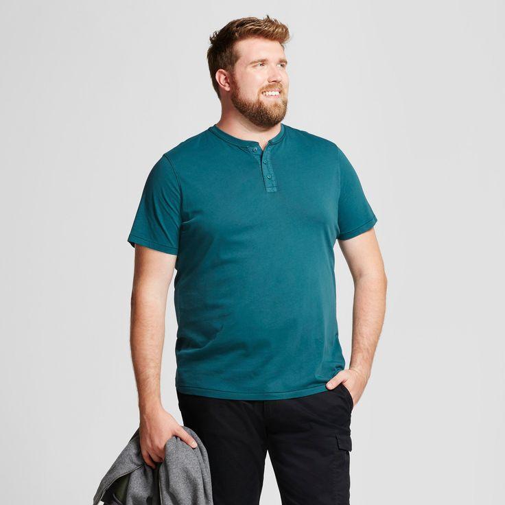Men's Big & Tall Standard Fit Short Sleeve Henley T-Shirt - Goodfellow & Co Teal (Blue) 5XBT