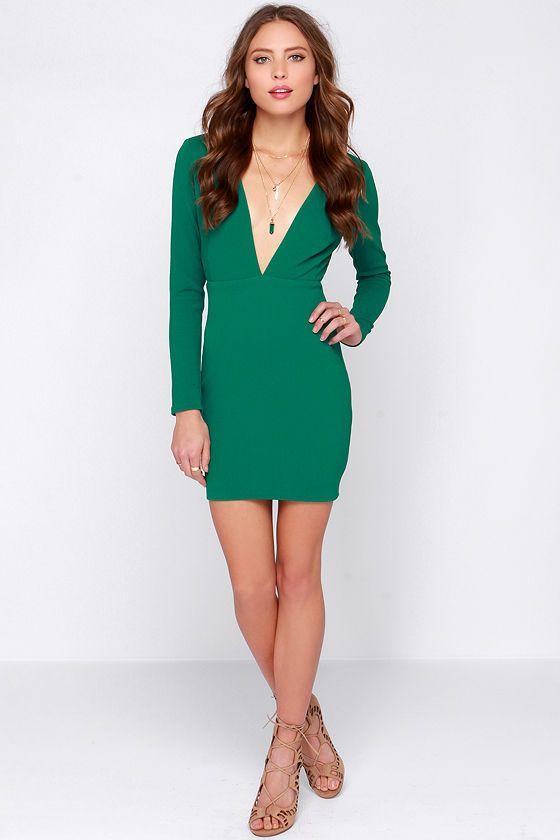 Rubber Ducky Ever So Lucky Green Long Sleeve Dress at Lulus.com!