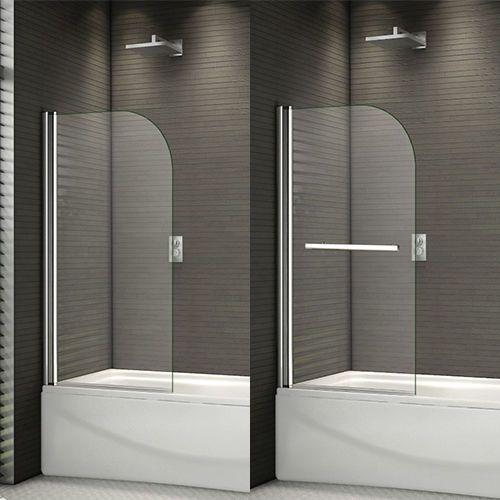 800x1400mm 180?Pivot Shower Bath Screen Easyclean Glass Door Panel Towel Rail