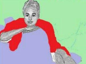 Caroline in rood op paarse bank