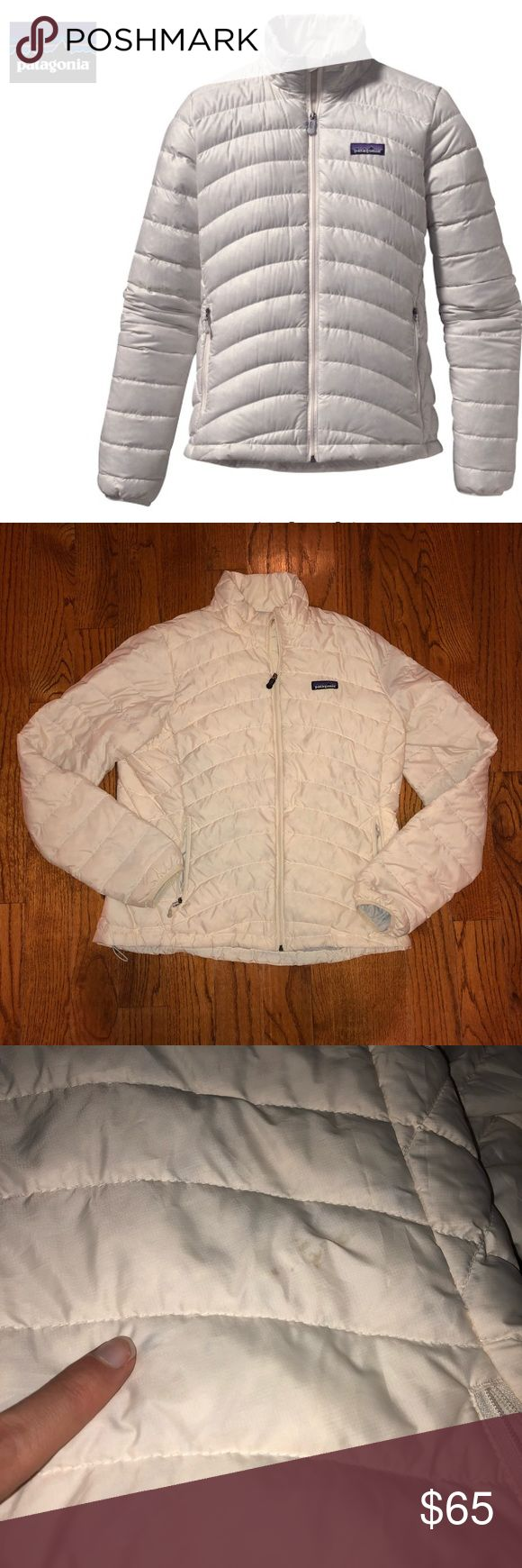 Patagonia Old Style Puffer Jacket Cream Patagonia women's down sweater size large. Really beautiful Patagonia down jacket in a cream color. Bought from another seller without proper description & could not return. Has a small burn hole on the bottom of the back of the jacket. Also a small mark on the front. Just wanting to get back something of what I paid! Really a great quality jacket - $219 retail! Patagonia Jackets & Coats Puffers