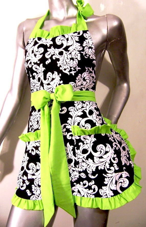 Black and White damask Apron With Lime Green by UnderTheVeil, $34.99