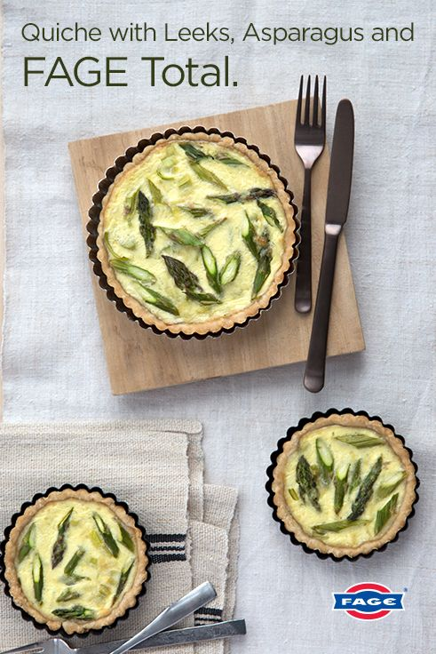 Try this recipe for savory quiche with leeks, asparagus and FAGE Total.