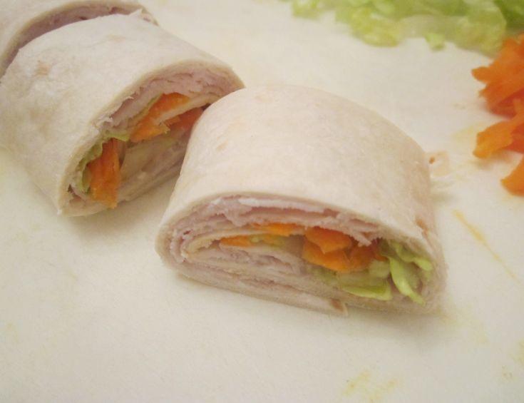 kindergarten snack idea, turkey wraps, good for school lunch too