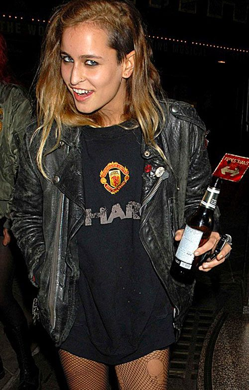 alice dellal, style inspiration, undercut, fishnets, big tee