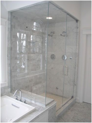 38 best images about bathroom on pinterest white mosaic for Build steam shower