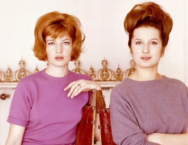 Mina Mazzini with Monica Vitti ca 1964