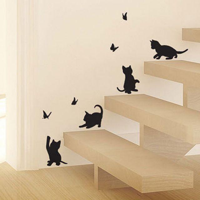 4 STÜCKE Nette Katzen Spielen mit Schmetterling Kinderzimmer Wandaufkleber Eingerichtet Aufkleber Kinderzimmer Cartoon Dekor Glas Aufkleber MeleStore