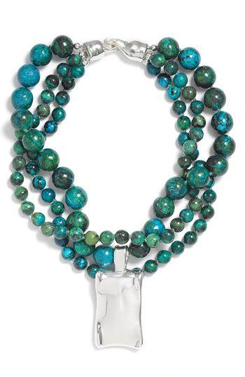 Simon Sebbag Chrysocolla Triple Strand Necklace, $363.03